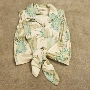 Tommy bahama  silk tie front top